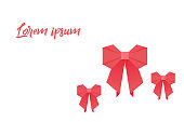 Origami with bow red colored on a white background