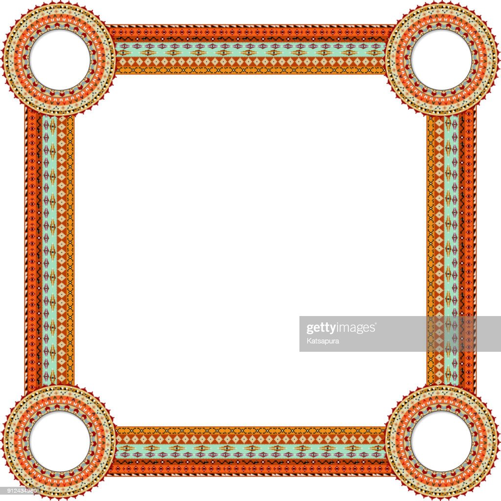 Original Abstract frame in Mexico tribal style. Vector illustration