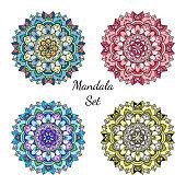 Original colorful mandala design elements collection. Symmetric round ornaments set.