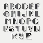 Original curved latin alphabet set.