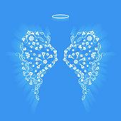 Original floral angel wings and Nimbus