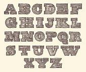 Original Font Wild West Wood Vintage Engraved