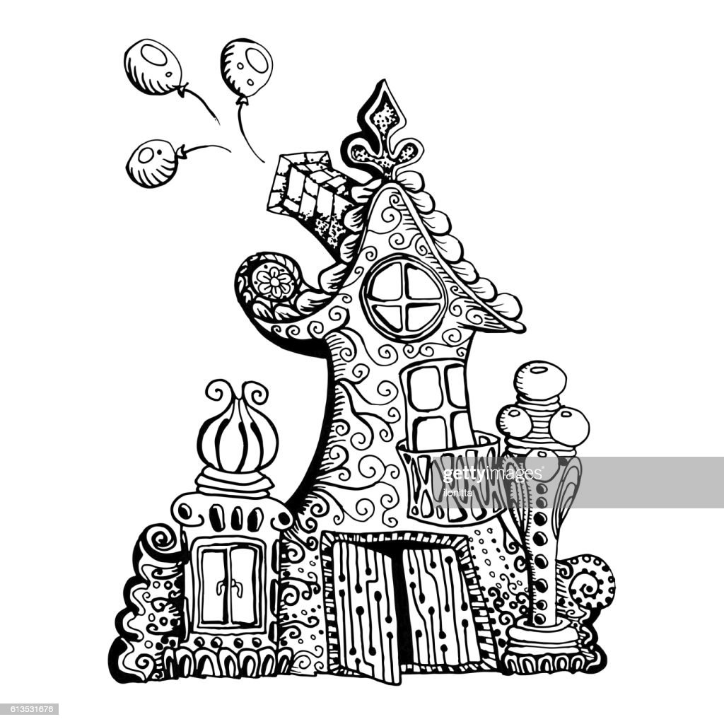 Original hand drawn doodle style fairy house. Can be used