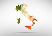 Original Italian map vector illustration with abstract flag background