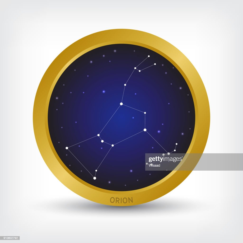 Orion constellation in golden circle