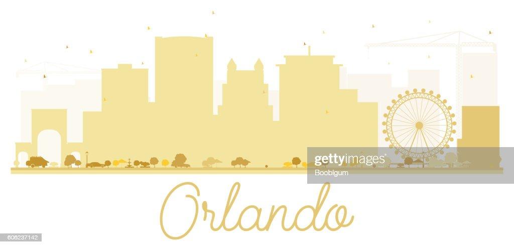 Orlando City skyline golden silhouette.