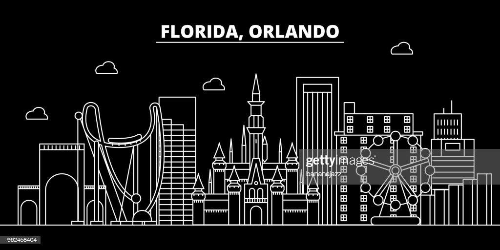Orlando silhouette skyline. USA - Orlando vector city, american linear architecture, buildings. Orlando travel illustration, outline landmarks. USA flat icon, american line banner