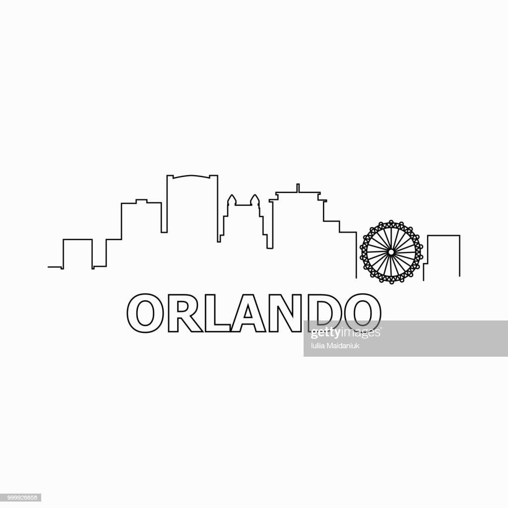 Orlando skyline and landmarks silhouette black vector icon. Orlando panorama. United States of America. USA