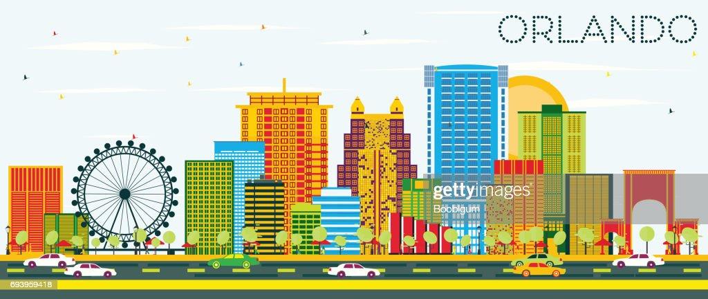 Orlando Skyline with Color Buildings and Blue Sky.