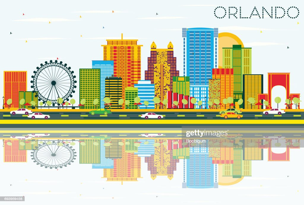 Orlando Skyline with Color Buildings, Blue Sky and Reflections.