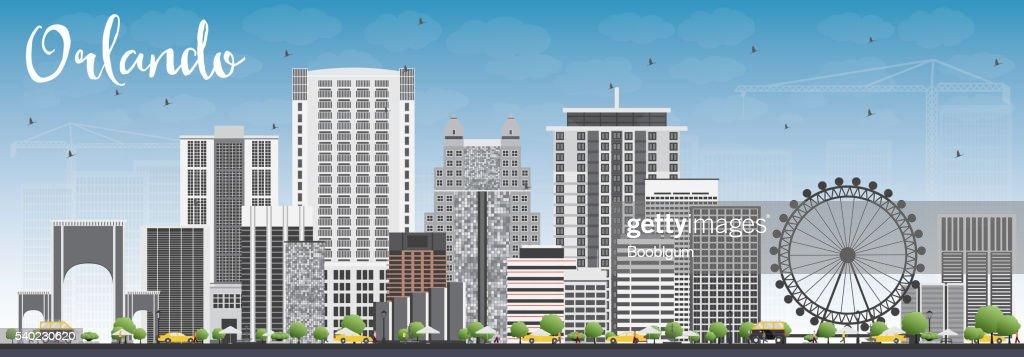 Orlando Skyline with Gray Buildings and Blue Sky.