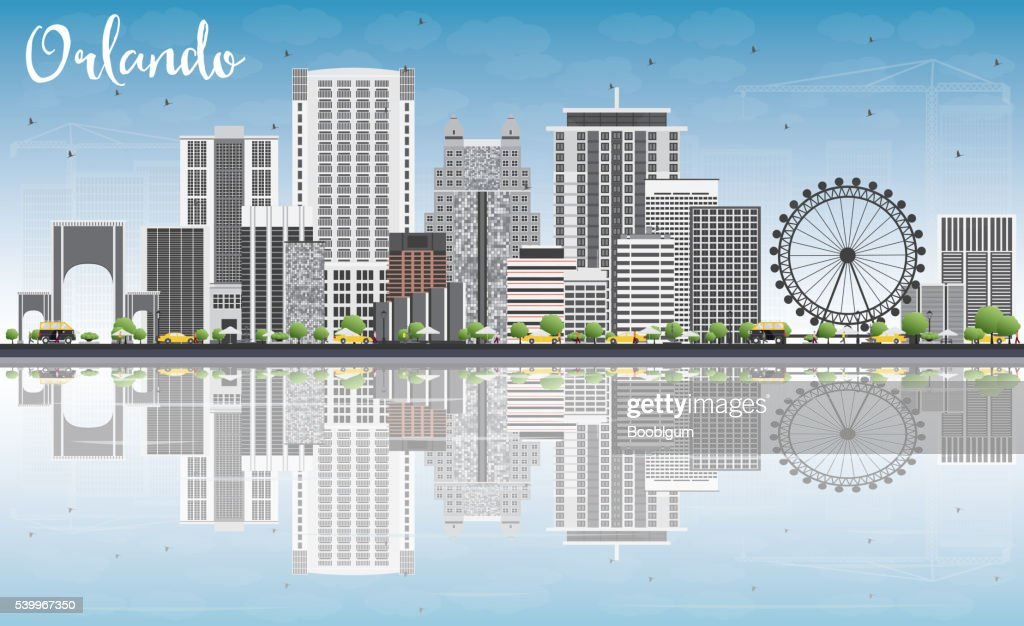 Orlando Skyline with Gray Buildings, Blue Sky and Reflections.