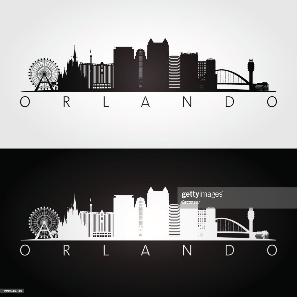 Orlando USA skyline and landmarks silhouette.