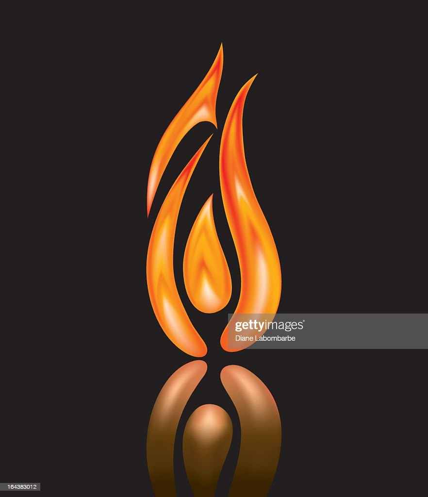 Ornage and Red Flickering Flame Icon isolated on Black