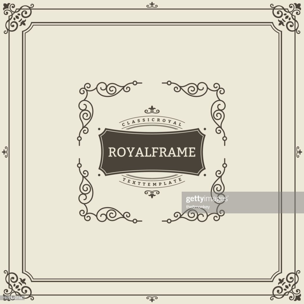 Ornament design invitation template. Vector flourishes calligraphic vintage frame. Good for Luxury, boutique brand, wedding shop, hotel sign