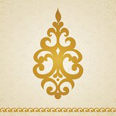 Ornament pattern in Victorian style on seamless curls background.