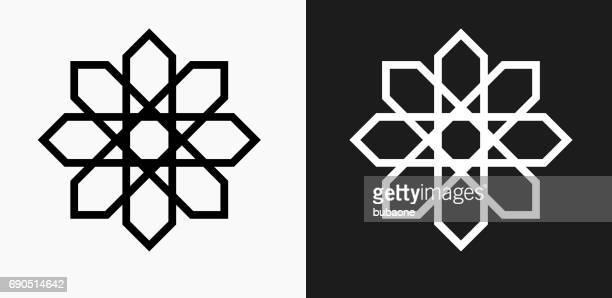 Ornament-Symbol-Symbol auf schwarz-weiß-Vektor-Hintergründe