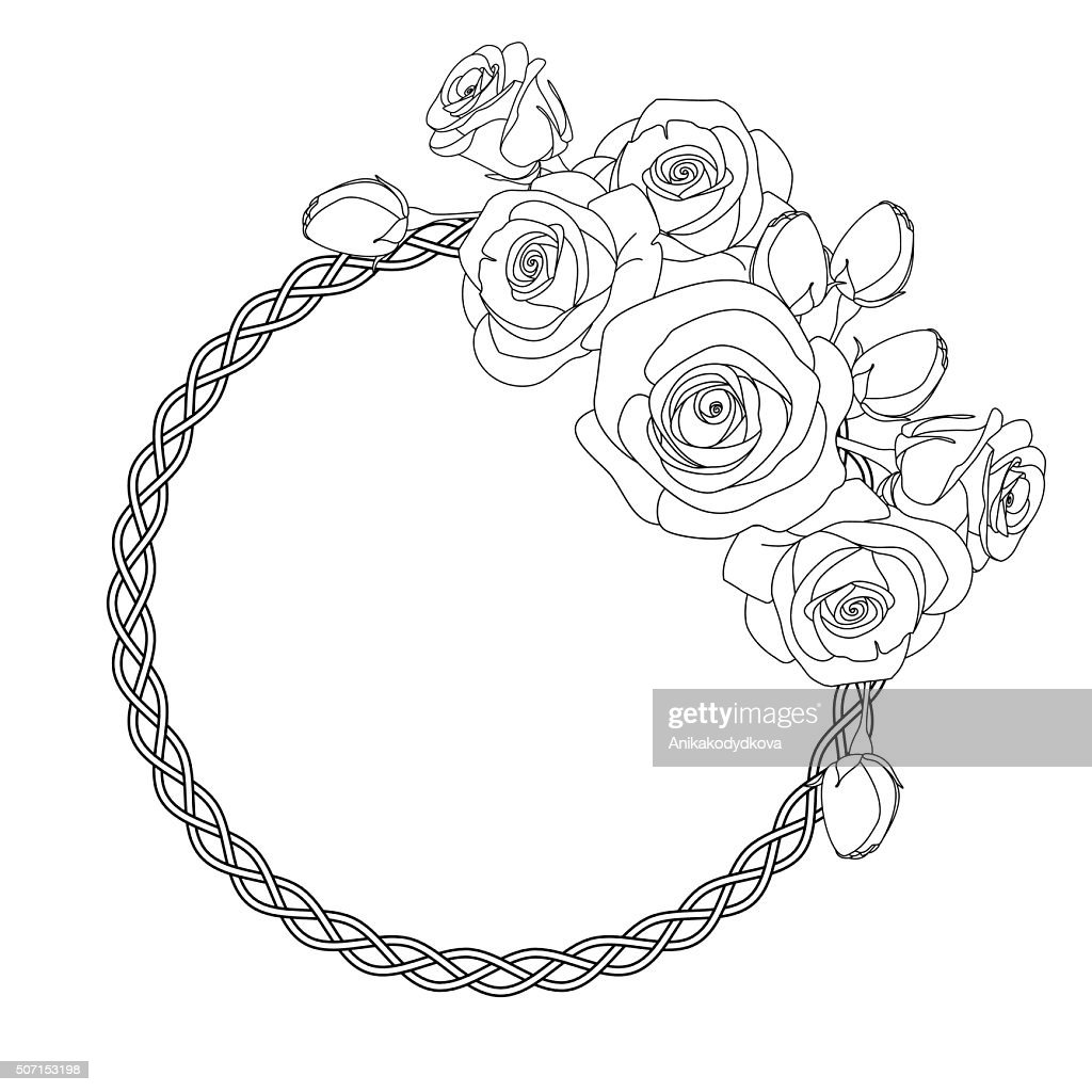 ornament with celtic motive and roses, antistress coloring page for