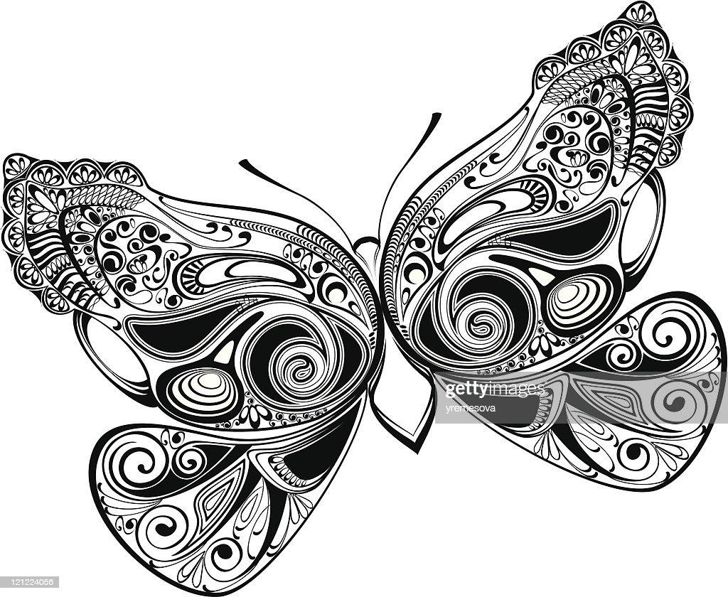 ornamental butterfly : stock illustration