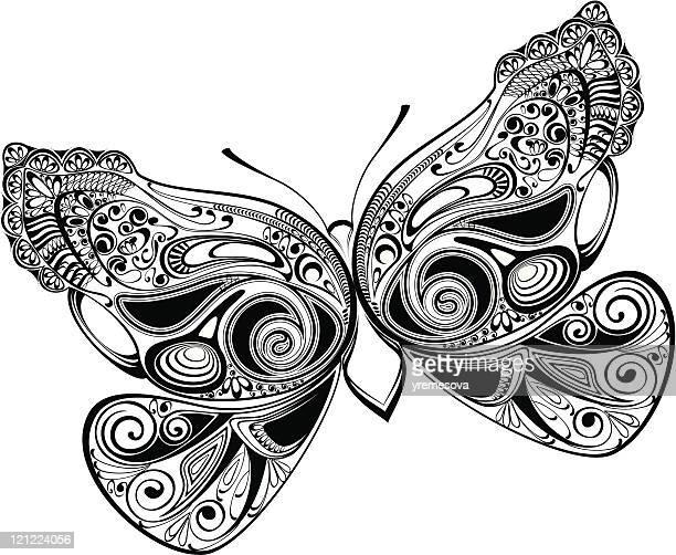 ornamental butterfly - animal limb stock illustrations, clip art, cartoons, & icons