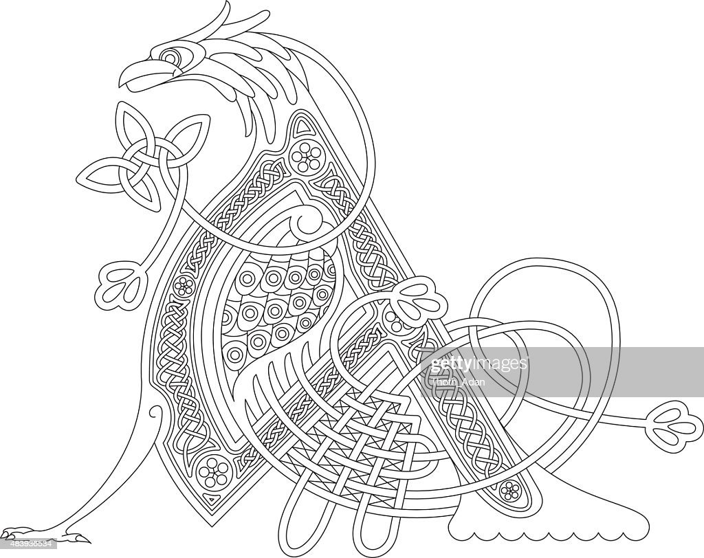 Ornamental celtic initial A drawing (Animal with endless knots)