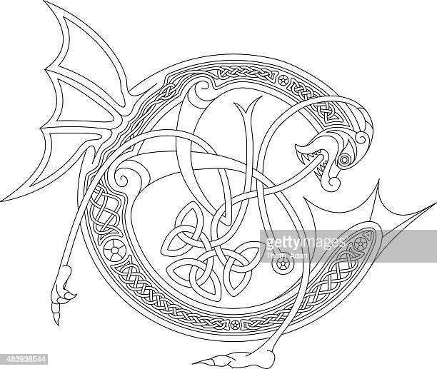 ornamental celtic initial c drawing (animal with endless knots) - book of kells stock illustrations