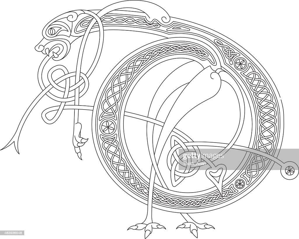 Ornamental celtic initial D drawing (Animal with endless knots)