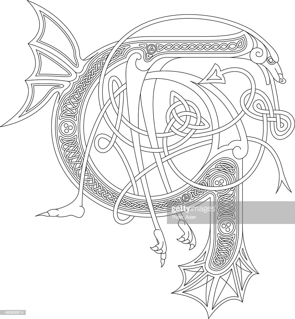 Ornamental celtic initial G drawing (Animal with endless knots)