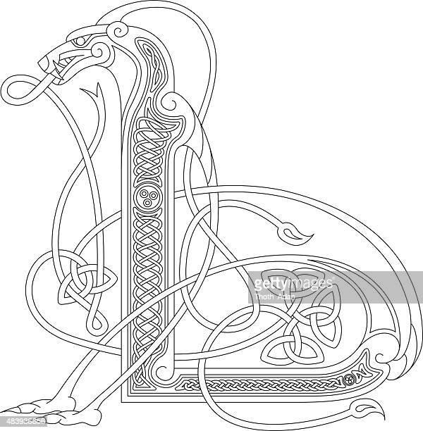 Ornamental celtic ersten L Zeichnung (Animal mit endloser Knoten