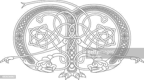 ornamental celtic initial m drawing (animal with endless knots) - book of kells stock illustrations