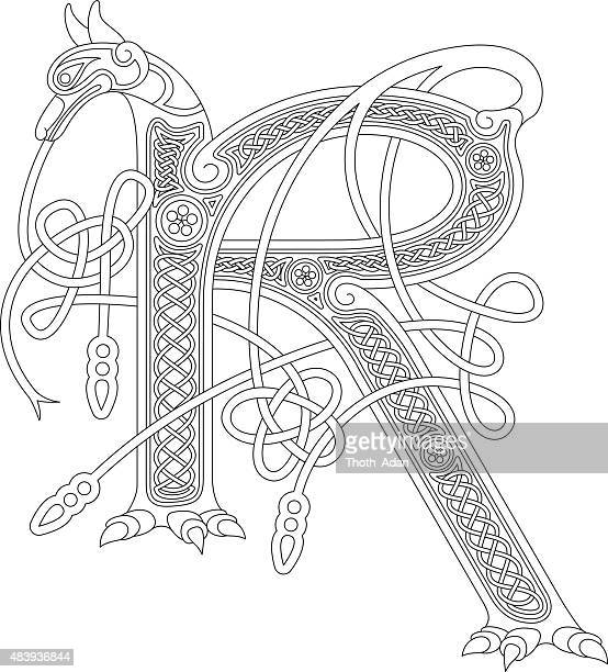 ornamental celtic initial r drawing (animal with endless knots) - book of kells stock illustrations
