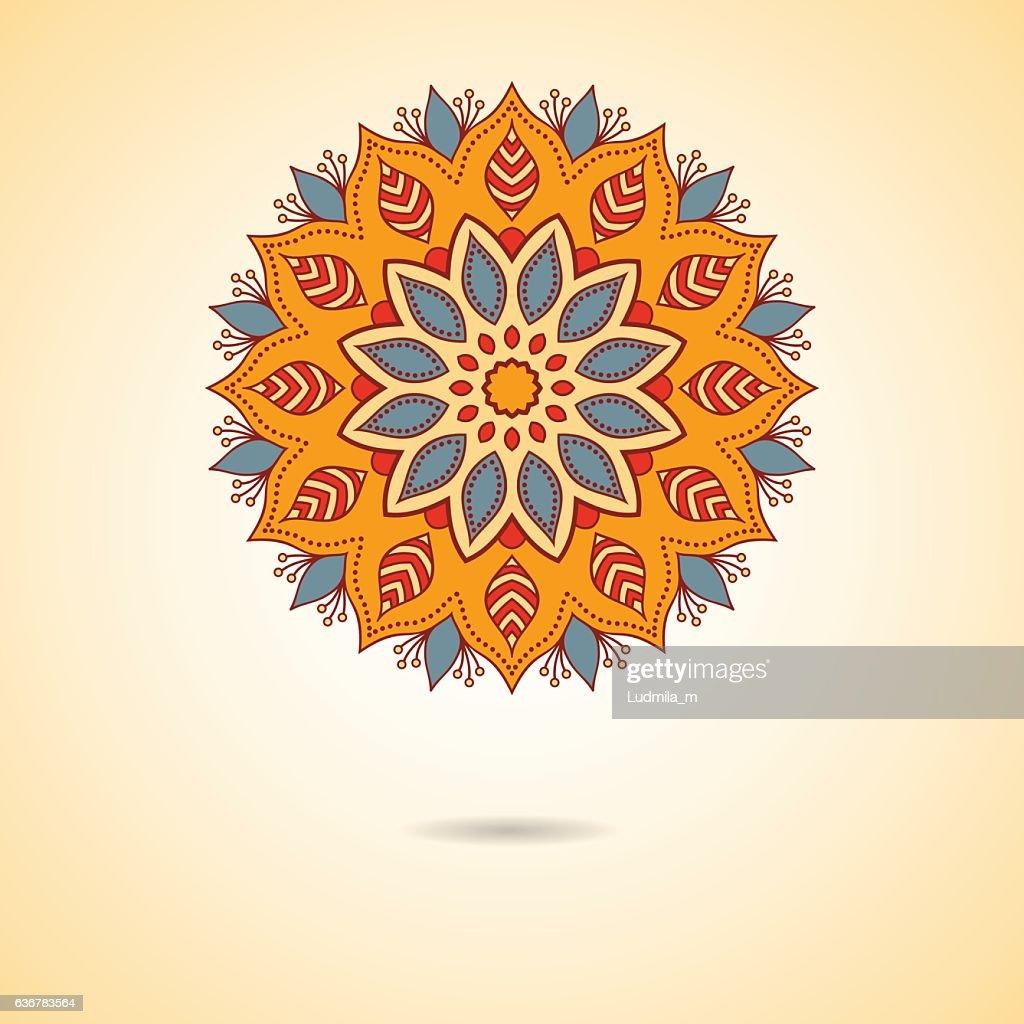 Ornamental colorful floral mandala.