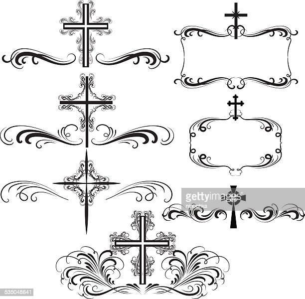 ornamental crosses - catholicism stock illustrations