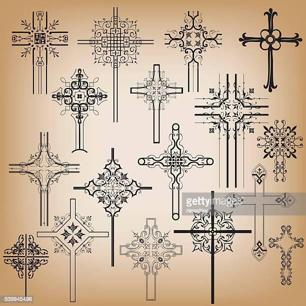 ornamental crosses - cross shape stock illustrations, clip art, cartoons, & icons