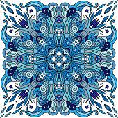 Ornamental doodle floral pattern, design for pocket square, textile, silk