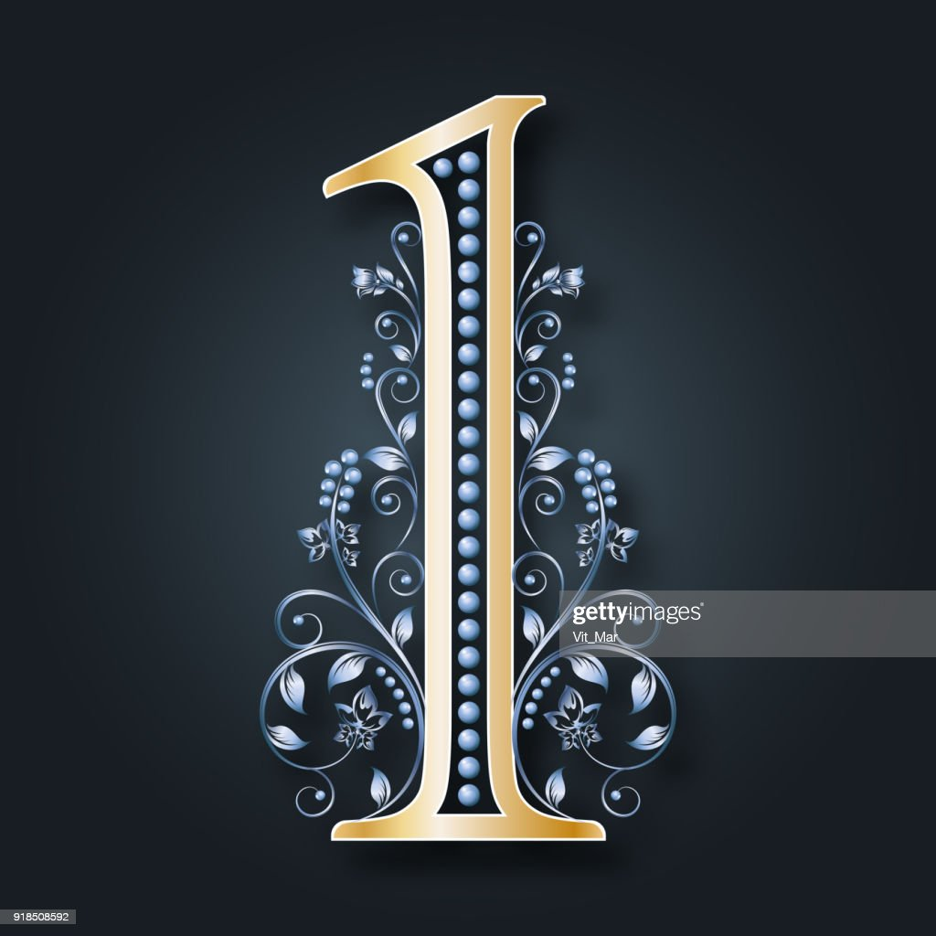 Ornamental figure 1. Floral numbers. Gold and silver. Monogram. Vector.