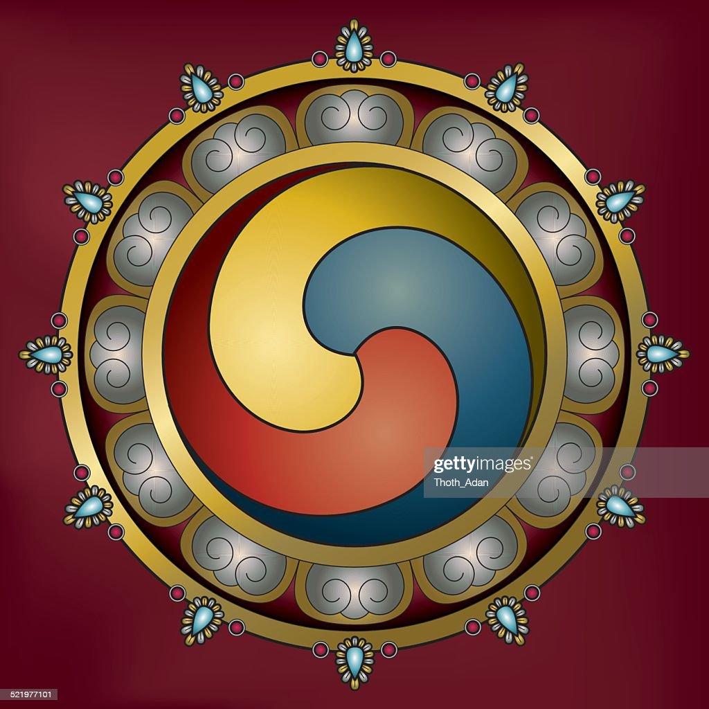 Ornamental Gankyil Wheel Of Joy stock illustration - Getty