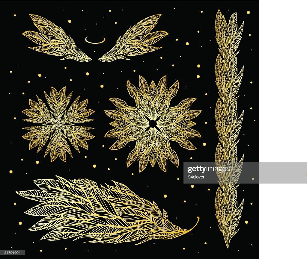 Ornamental gold set of patterns, tattoos, wings, feathers, mandala, swirly