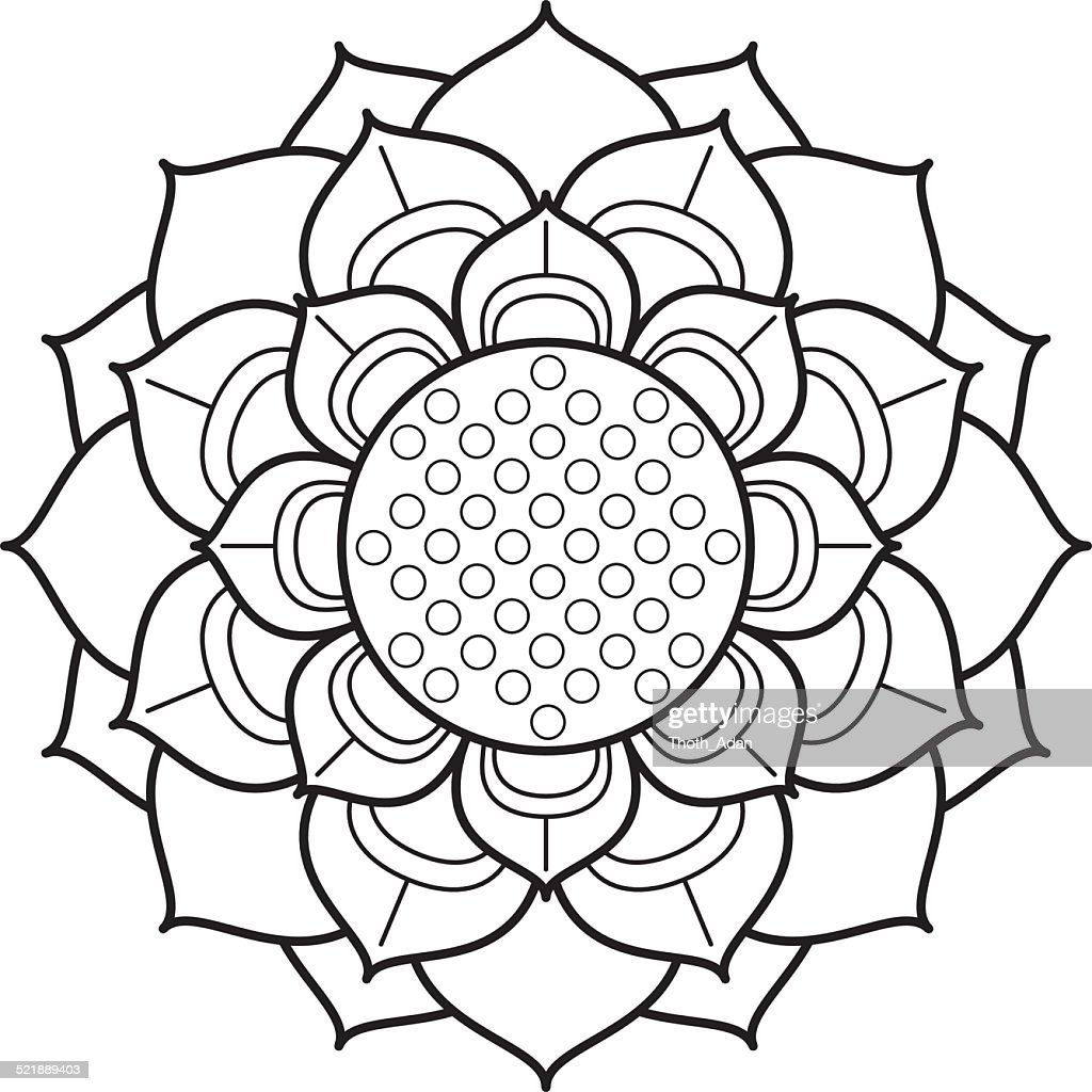 Ornamental Lotus Flower Drawing Vector Art Getty Images