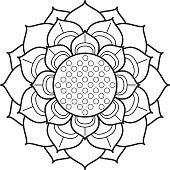 Ornamental lotus flower drawing