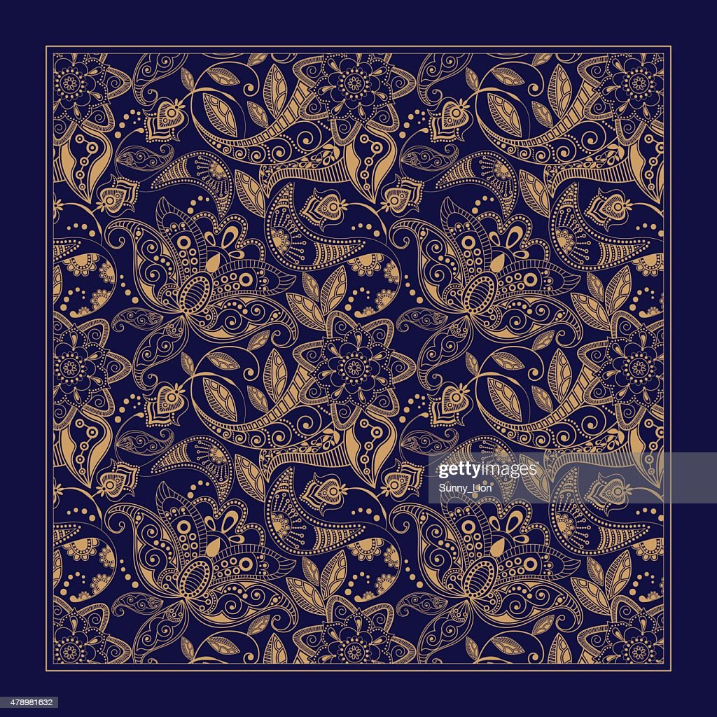 Ornamental Paisley pattern, design for pocket square, textile, silk shawl
