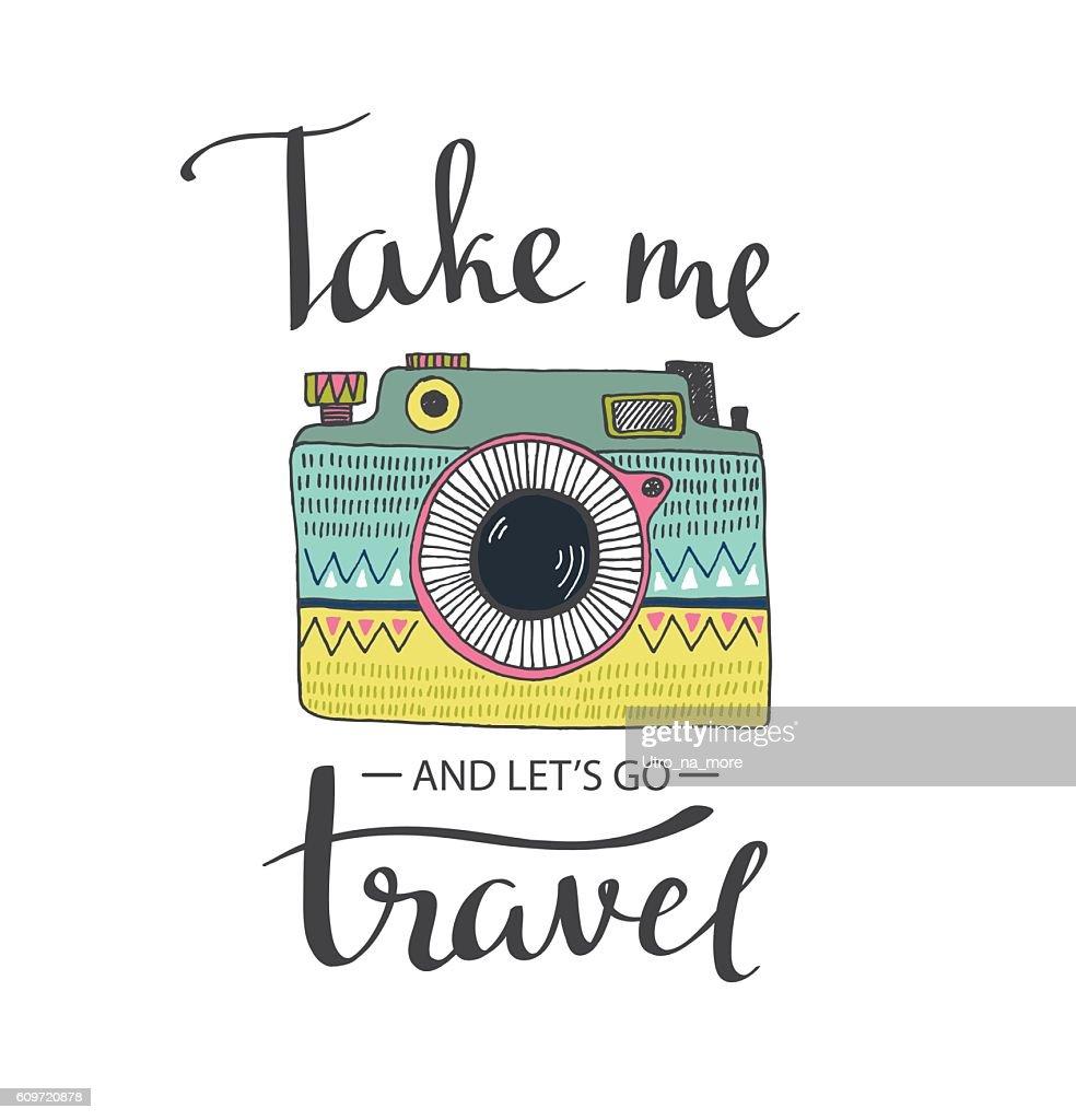 Ornamental Retro photo camera and stylish lettering.