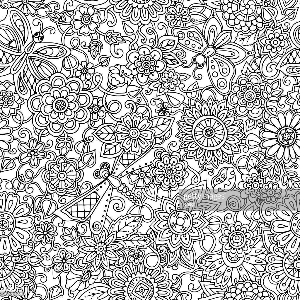 Ornamental seamless ethnic pattern with dragonfly and butterfly