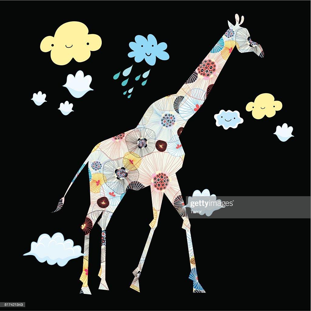 ornamental silhouette of a giraffe