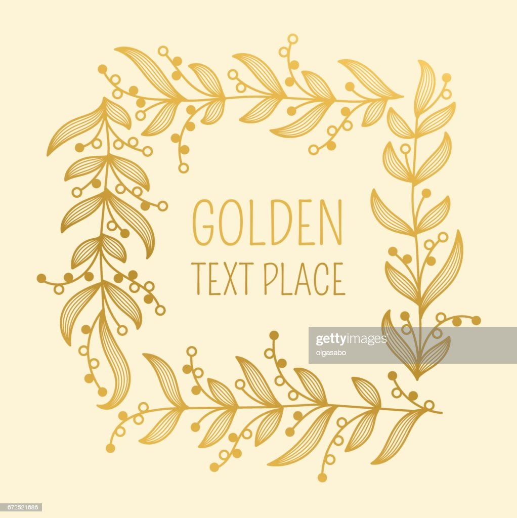 Ornamental square border. Golden winner's garland.