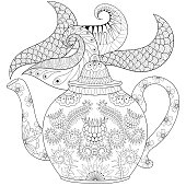 Ornamental teapot with steam, hot beverage wi