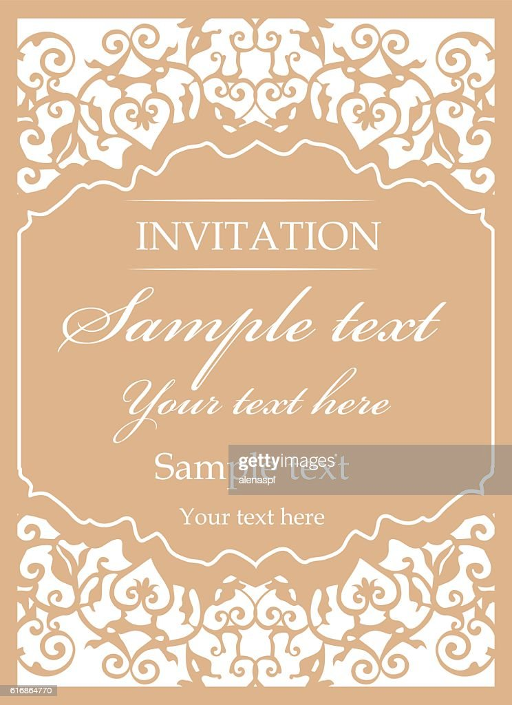 Ornamental vintage frame for wedding invitations : Vector Art