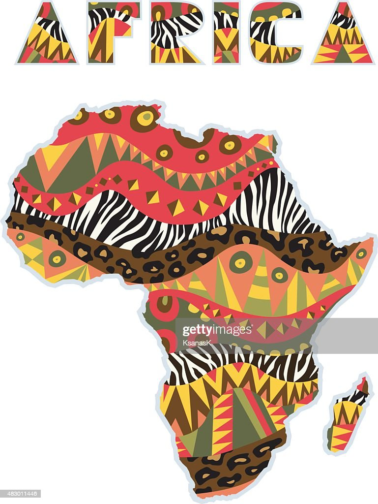 Ornate Africa Continent With Art Title