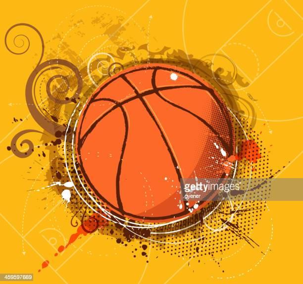 ilustraciones, imágenes clip art, dibujos animados e iconos de stock de ornamentado de baloncesto - cancha de baloncesto