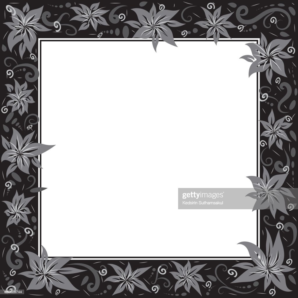 Ornate Black Picture Frames Isolated On Whitefree Hand Drawing Of ...
